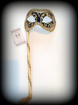 Venetian Masquerade Mask On A Stick - Decor Era Gold Black