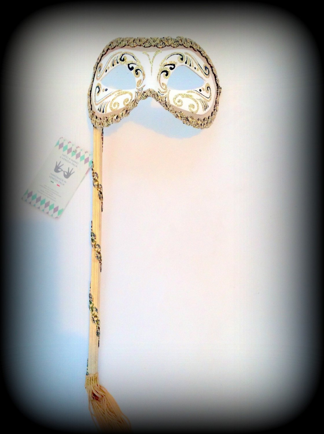 Venetian Masquerade Mask On A Stick - Decor Era White Gold