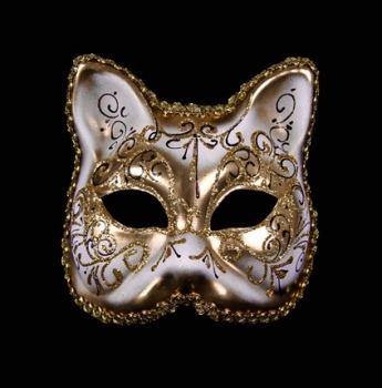Gatto Aria Masquerade Face Mask - Gold White
