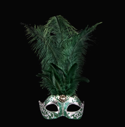 Stella Feather Masquerade Mask - Green Silver