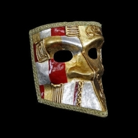 Art Deco Full Face Masquerade Masks - Red