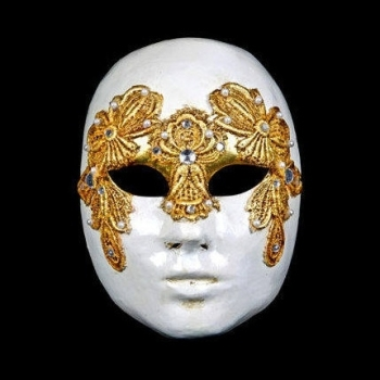 Volto Macrame Maschile Gold Masquerade Mask - Female