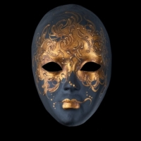 Autumn Moon Luxury Venetian Masquerade Mask - Black