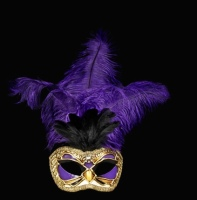 Purple Fly Feather Masquerade Mask