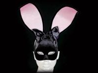 Black Velvet Bunny Girl Venetian Masquerade Mask