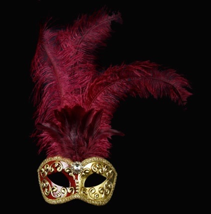 Mezza Feather Mask - Bordeaux Red