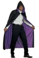 Reversible Hooded Cape - Black And Purple