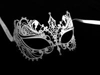 Berenice Lux Filigree Masquerade Mask - White