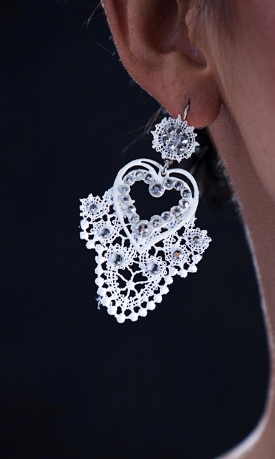 Passion Filigree Lace Earrings - White