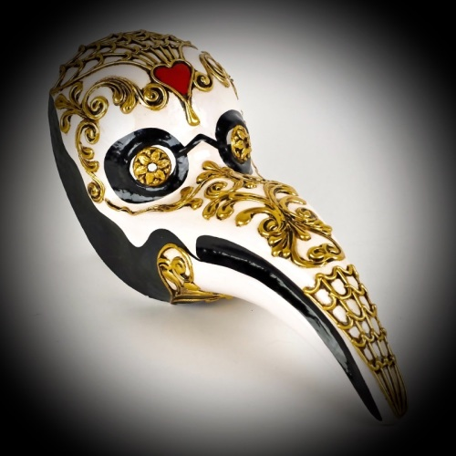 Plague Doctor Masquerade Mask - Macrame Gold