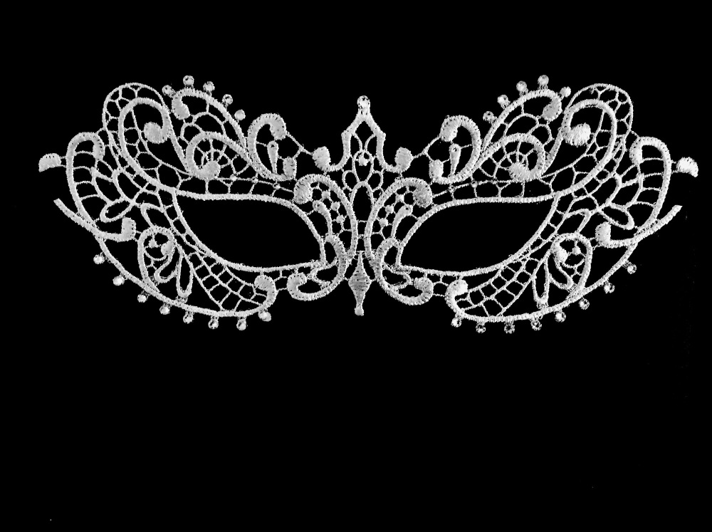 Fifty Shades Darker Papier-Mache Lace Masquerade Mask - Pure White