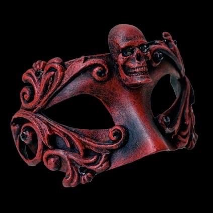 Skull Luxury Masquerade Ball Mask - Red
