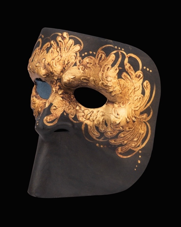 Autumn Leaf Luxury Venetian Face Mask - Black and Gold