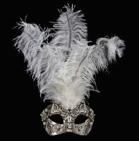 Macrame Feather Masquerade Mask - Silver