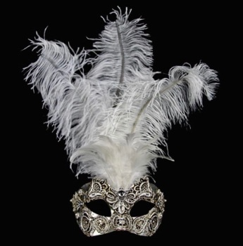 Macrame Feather Masquerade Mask - Silver