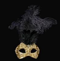 Macrame Feather Masquerade Mask - Gold
