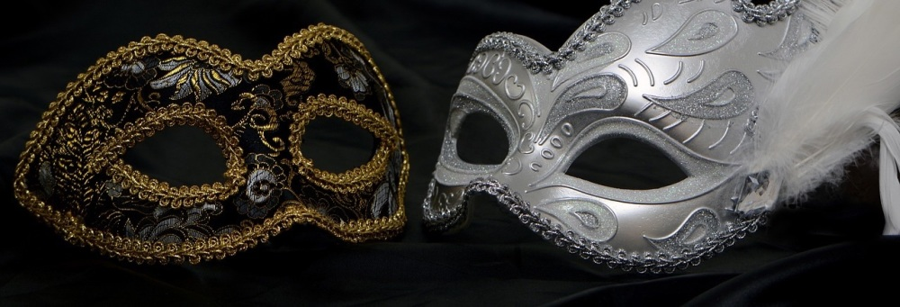 mask - masquerade - silver - black and gold - feather