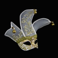 Joker Velo Venetian Masquerade Ball Mask - White