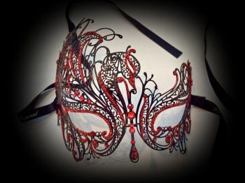 Mireille Filigree Mask - Ruby Red