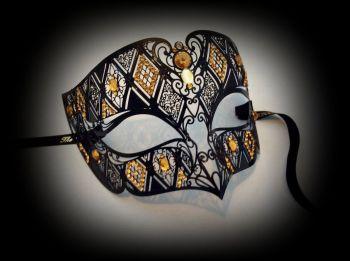 Fantasia Designer Filigree Mask - Amber Edition