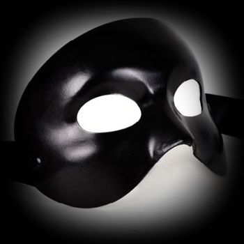 Black Leather Phantom of the Opera Face Mask