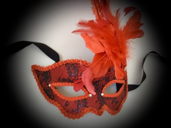 Fifi Feather Masquerade Mask - Vivid Red