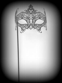 Elegance Filigree Mask On A Handle - Nero