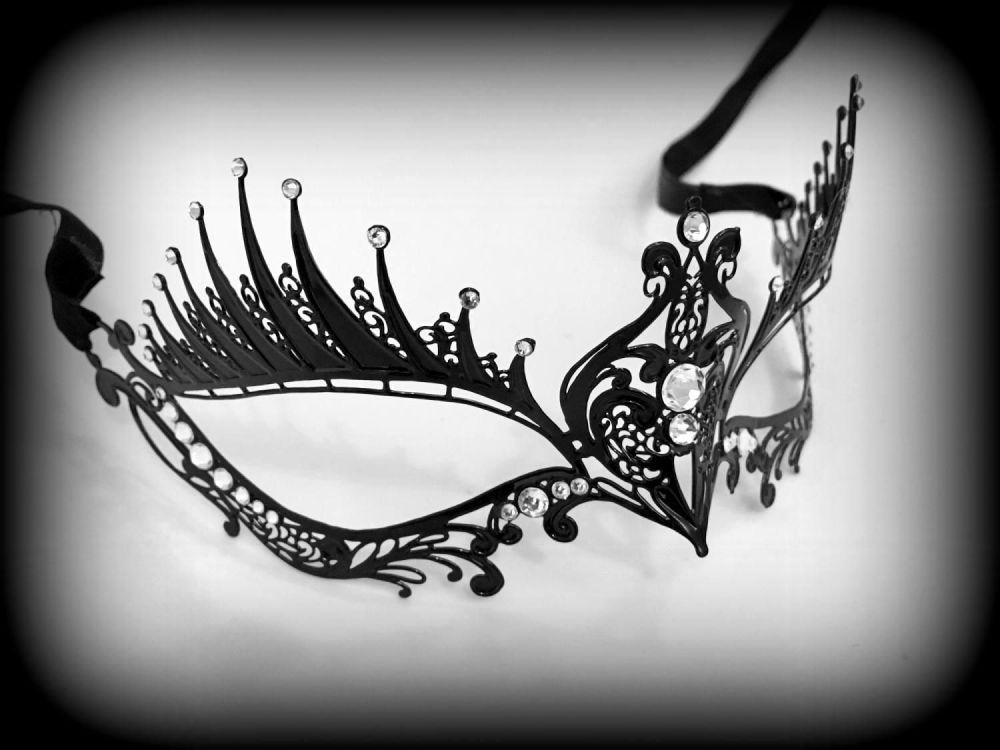 Dark Angel Filigree Lace Masquerade Mask - Swarovski