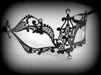 Black Megan Filigree Mask - Swarovski