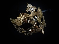 Fantasia Lady Filigree Venetian Masquerade Mask - Limited Edition Gold