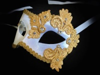 Luxury Empress Venetian Masquerade Mask - White / Gold