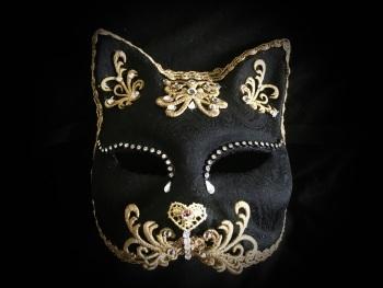 Gatto Barocco Venetian Masquerade Ball Mask - Black Velvet