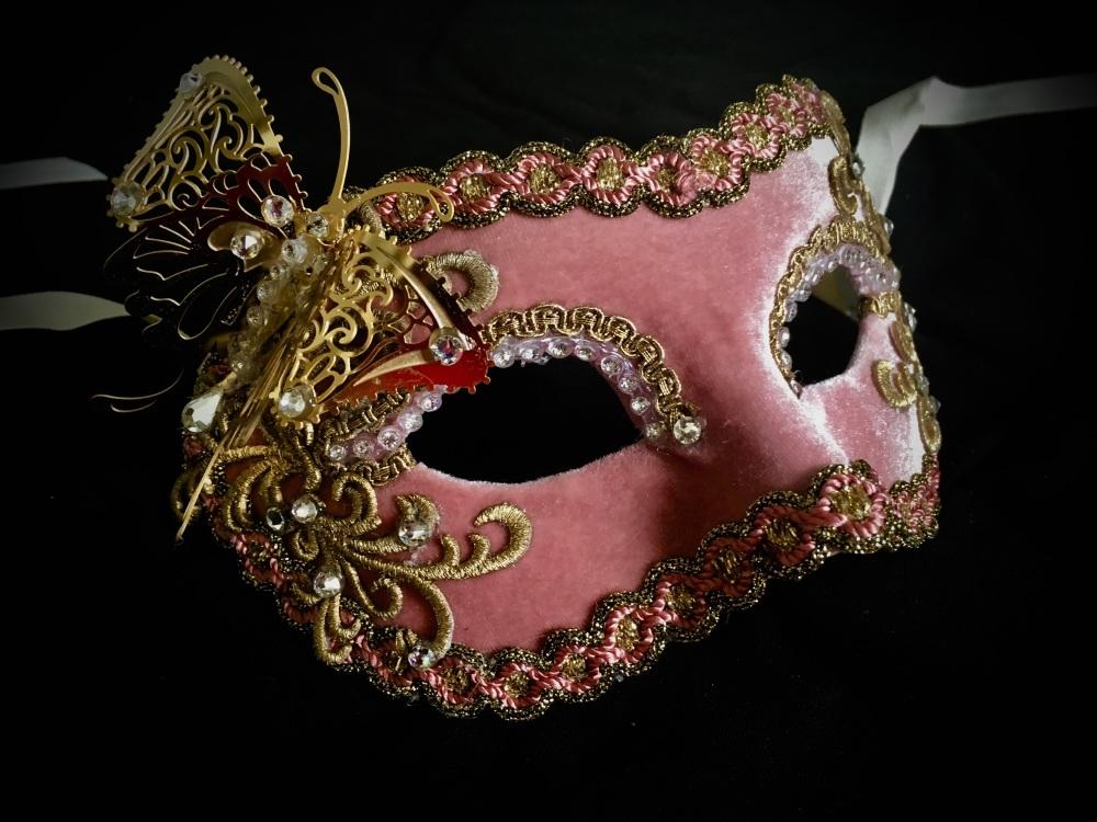 Butterfly Venetian Masquerade Mask - Pink Velvet