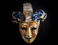 Jolly Venetian Masquerade Ball Mask - Gold & Blue