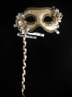 Pizzo d'oro - Venetian Masquerade Mask On A Stick
