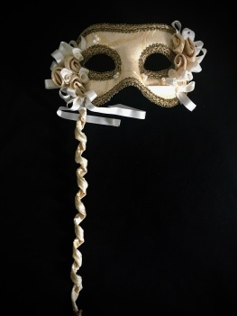 Pizzo d'oro - Venetian Masquerade Mask On A Stick