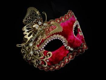 Butterfly Venetian Masquerade Mask - Red Velvet