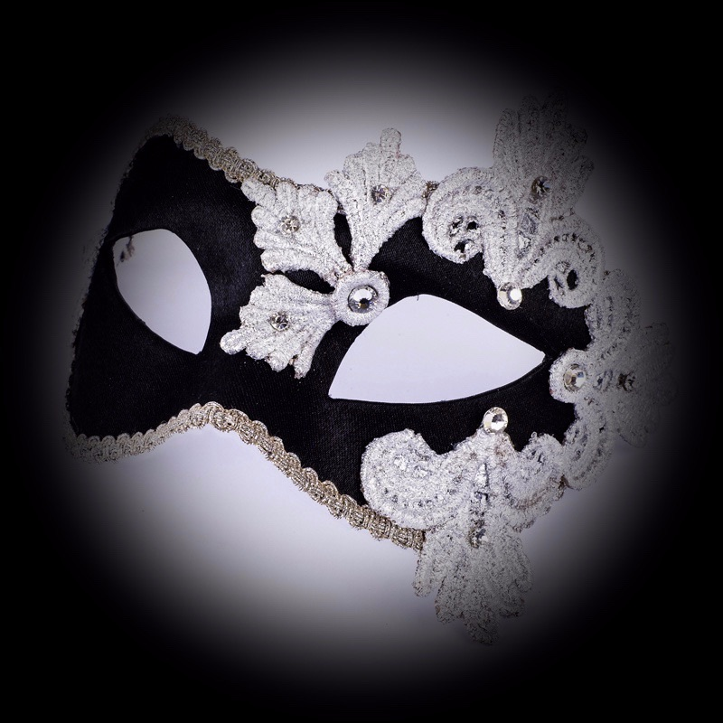 Luxury Empress Venetian Masquerade Mask - Black / Silver