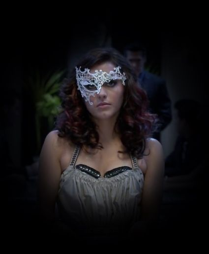 "White filigree mask as worn by  Emily in the dance movie ""Step Up Revolution"""