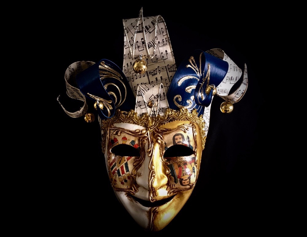 Stunning Joker Masquerade ball mask - Antique gold leaf, blue & white sections with gold borders. Free UK Delivery