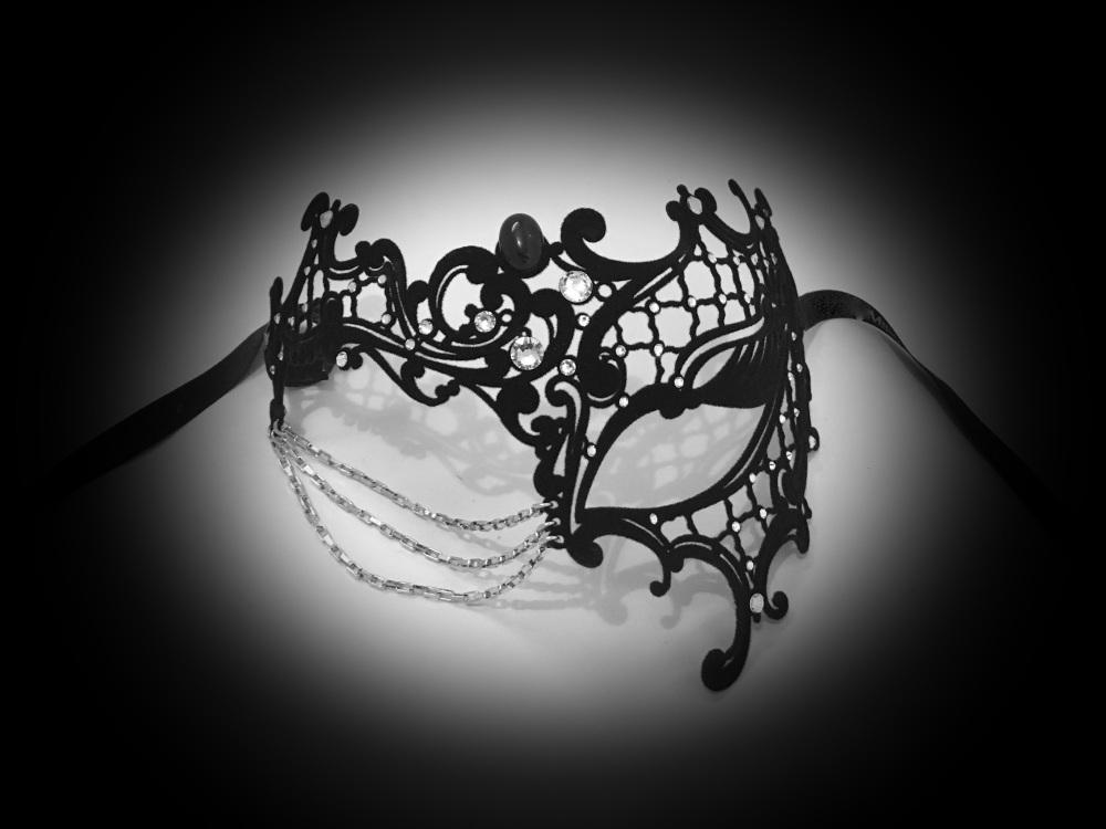 Occhialino Lux Filigree Mask - Black Velvet