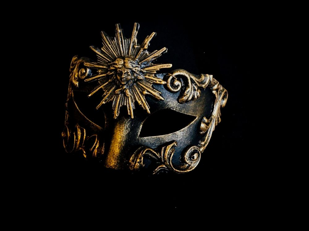 A Luxury Venetian Masquerade Ball Mask in a stunning gold colour