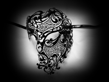 Deluxe Phantom Filigree Metal Lace Mask - Nero Black