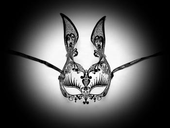 Black Filigree Bunny Girl Mask