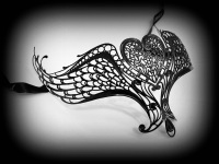 'Hearts Joined Forever' Filigree Lace Mask - Black