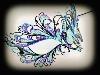 Blumen Designer Filigree Mask - Turquoise & Purple