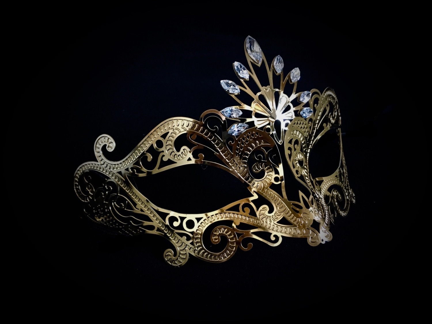 Very opulent yet elegant gold edition filigree Venetian masquerade mask for a woman