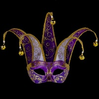 Joker Brillante Masquerade Mask - Purple