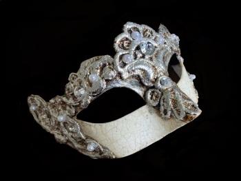 Madam Macrame Luxury Venetian Masquerade Ball Mask - Silver