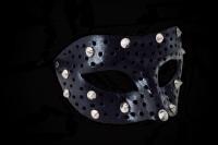 Fellini Borchie Leather Mask - Distressed Black
